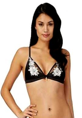 Bardot White Thread Print Black Lace Triangle Bra