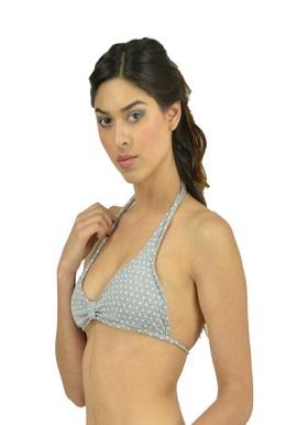 Cool Polka Dots Grey Halter Neck Bra |online|buy|