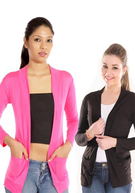 Solid Pink Black Front Pocket Shrugs Value Pack snazzyway.com