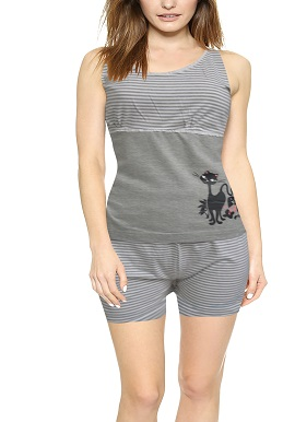 Women's Grey Catty Printed Short Set