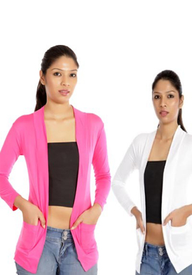 Solid Pink white front packet shrug value pack snazzyway.com