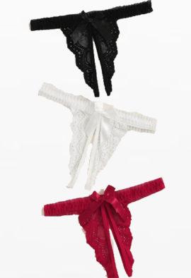 3 pack seductive open crotch panties