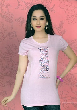 Cool Light Pink Short Sleeves Tee