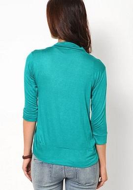 Fashion Fit Aqua Blue 3/4 Sleeves Shrug