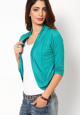 Fashion Fit Aqua Blue 3/4 Sleeves Shrug