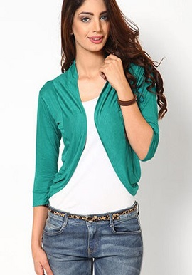 Fashion fit Aqua green 3-4 sleeves shrug