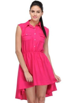 Favorite Pink High Low A Line Dress