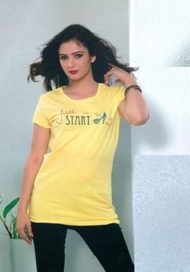 Girls Fashion Just Start Printed Yellow Tee