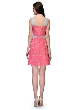 Girls Floral Print Sleeveless Pink Tunic 1