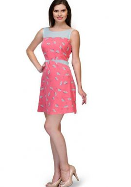 Girls Floral Print Sleeveless Pink Tunic