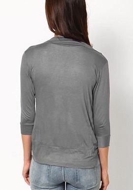 Grey 3 Quater Sleeves Solid Shrug 1