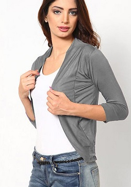 Grey 3 Quater Sleeves Solid Shrug