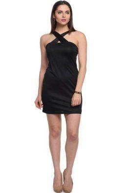 Ladies Cross Neck Party Wear 1 Piece Dress