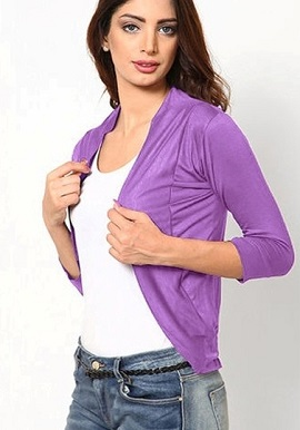 Light Purple 3 Quarter Sleeves Shrug
