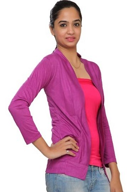 Magenta Full Sleeves Shrug