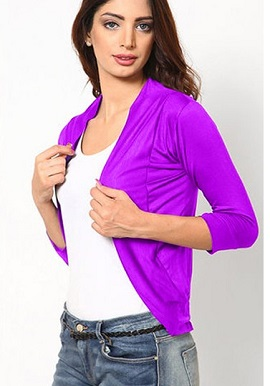 Magenta Solid 3 Quarter Sleeves Shrug