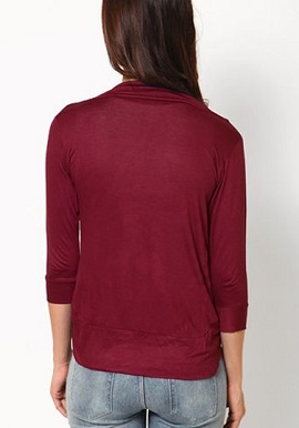 Maroon 3-4 Sleeves Solid Shrug 1