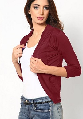 Maroon 34 Sleeves Solid Shrug