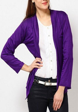 Purple Full Sleeves Shrug