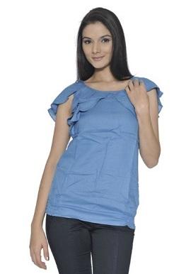 Remanika Blue Flared Sleeves Top