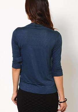 Smooth Dark Blue Solid Shrug 1