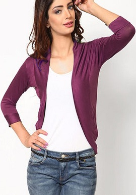 Solid Burgundy 3 Quater Sleeves Shrug