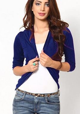 Super Fine Royal Blue 34 Sleeves Shrug