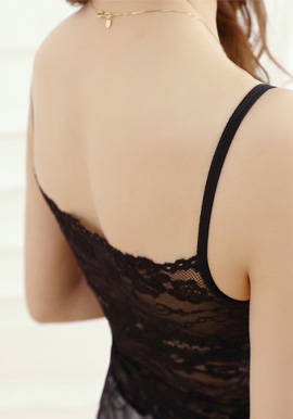 Women's Full Lace Black Camisole Bra 2