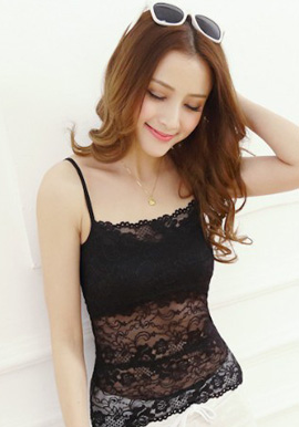 Women's Full Lace Black Camisole Bra
