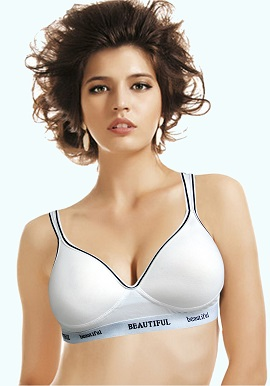 Beautiful Women's White Padded Sports Bra
