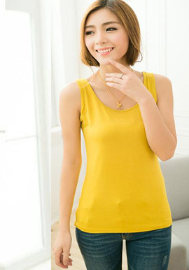 Comfort Fit Yellow Cotton Spandex Cami Tank Top