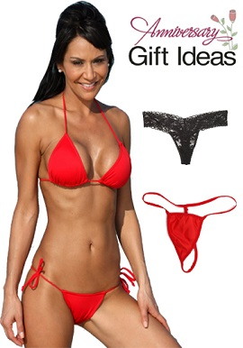 Hot Red Bikini Set With TwoThongs Anniversary Pack