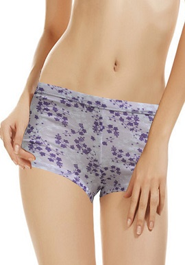 Soft Purple Floral Print Boyshort (PK Of 2)
