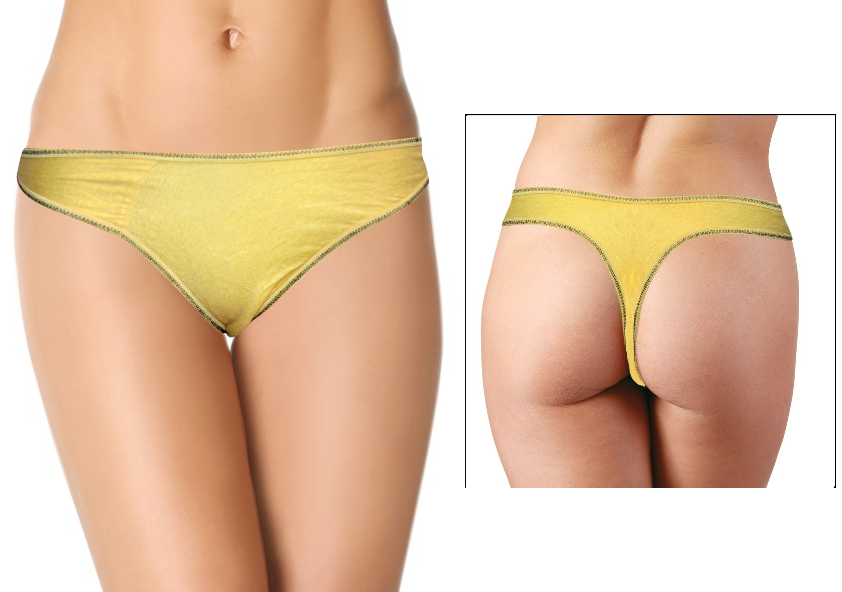 Women's Natural Yellow Plain Thong 1
