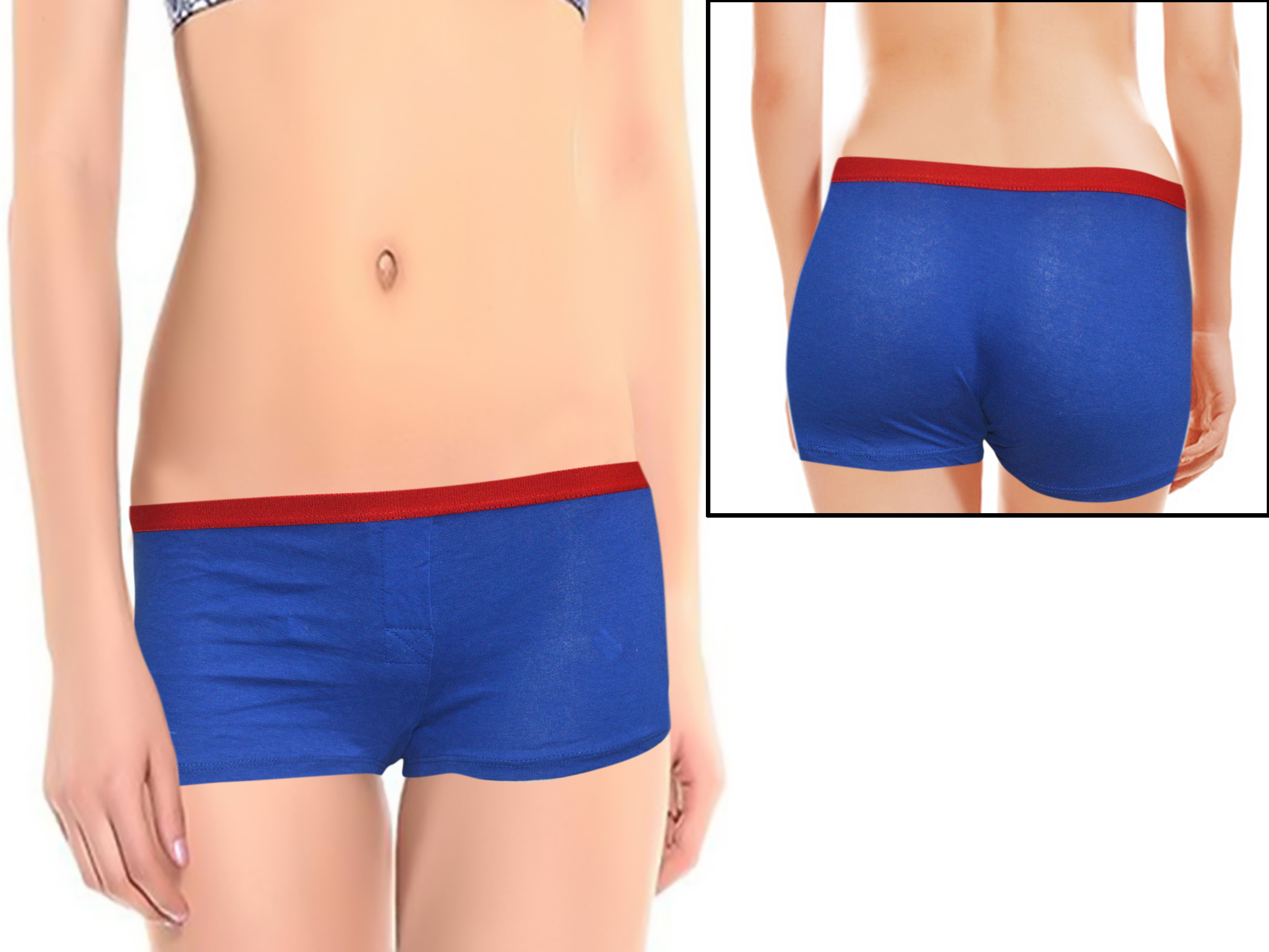 Women's Plain Royal Blue Boyshort (Pk Of 2) 1