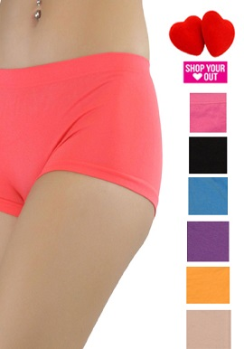 Wholesale Lot-Six Solid Colour Cotton Boyshorts Panties