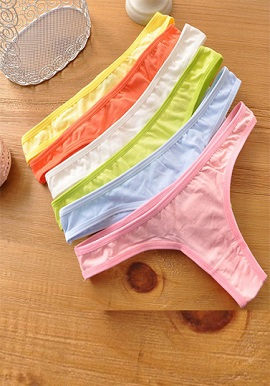 Wholesale Women Pure Cotton Thong Panties 6 Piece Lot