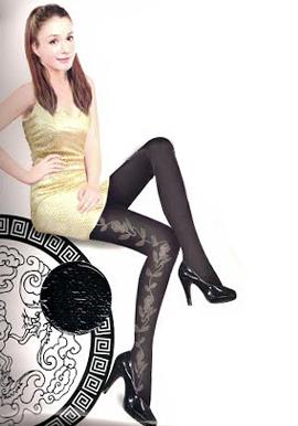 Women's Black Floral Stocking