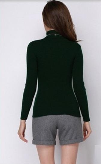 Women's Winter TurtleNecked Cashmere Dark Green Sweater