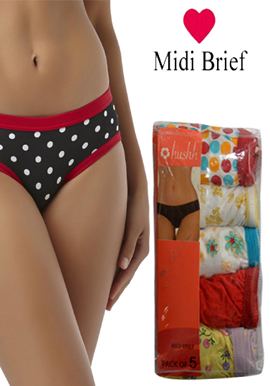 Hushh Pack Of 5 Pairs Of Cotton-Rich Midi Briefs