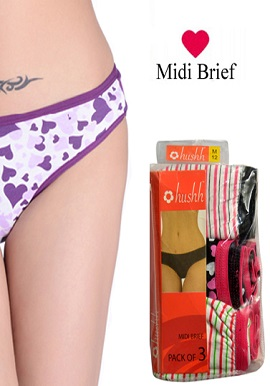 Hushh Women's Super Cool Cotton 3 Midi Briefs