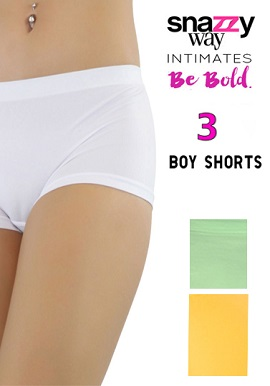 Snazzyway 3 Intimates Assorted Colour Boyshorts