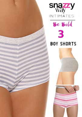 Snazzyway 3 Pack Soft Cool Cotton Boyshorts