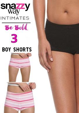 Snazzyway 3 Piece Set Of Smooth Soft Boyshorts