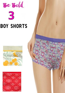 Snazzyway Intimates Pack Of 3 Soft Stretchy Boyshorts