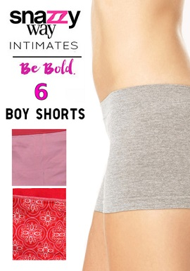Snazzyway Intimates Pack Of 6 Mix Colour Boyshorts