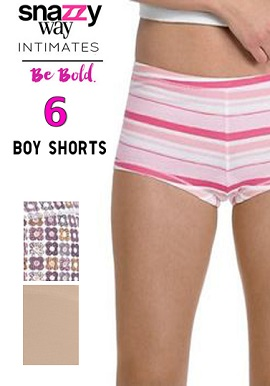 Snazzyway Intimates Set Of 6 Soft Cotton Boyshorts