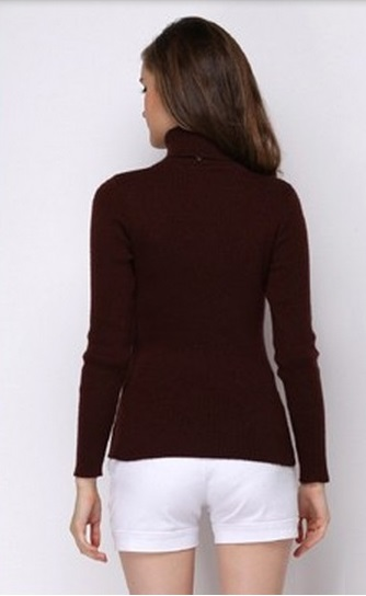 Women¢'´s Coffee Color Knit Sweater Bottoming Shirt