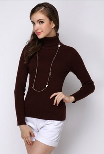 Women's Coffee Color Knit Sweater Bottoming Shirt