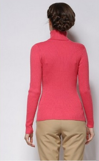 Women's Slim Fit Soft High Neck Watermelon Red Sweater2